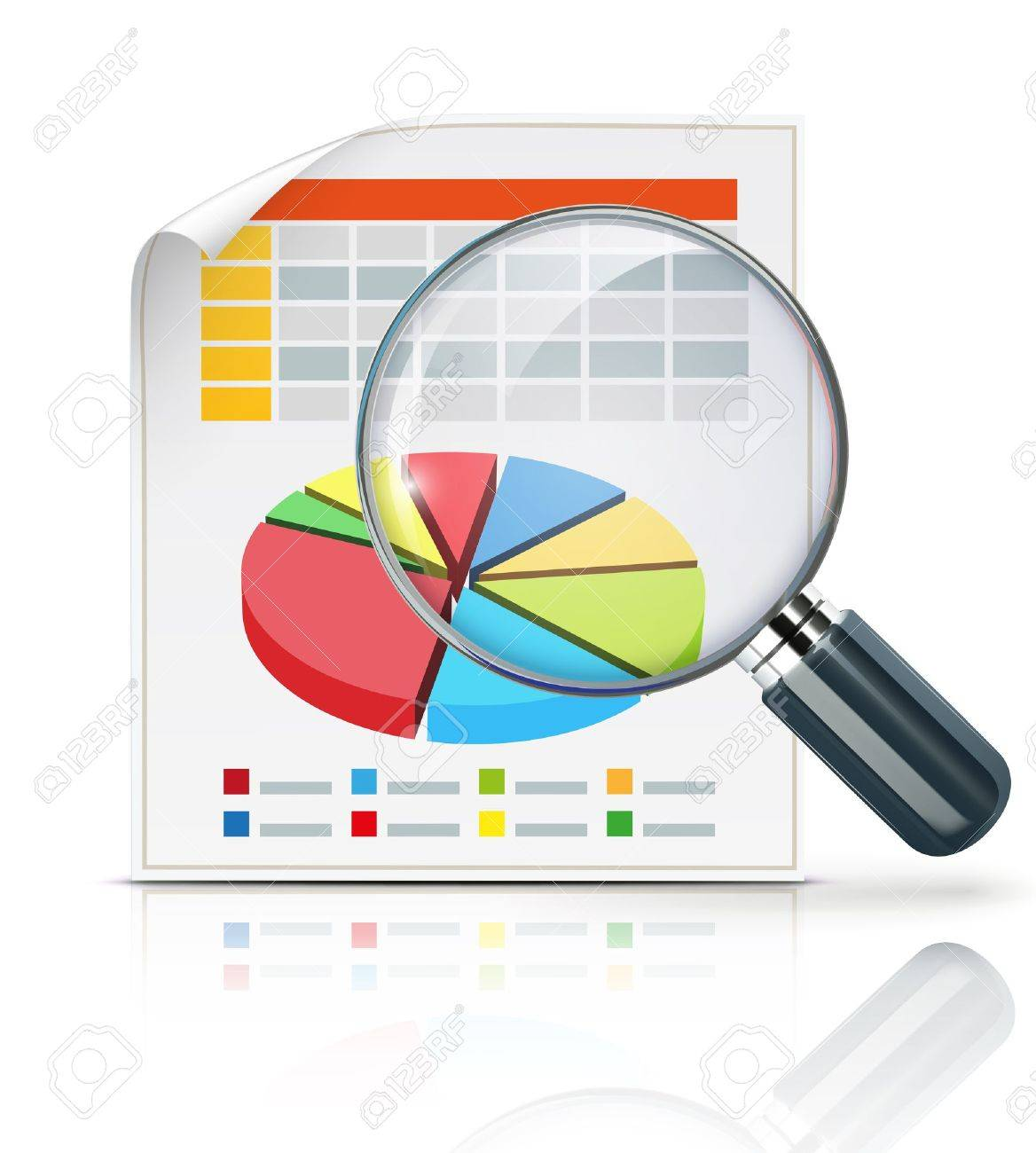 illustration of business concept with finance graphs and magnifying glass - 20464441