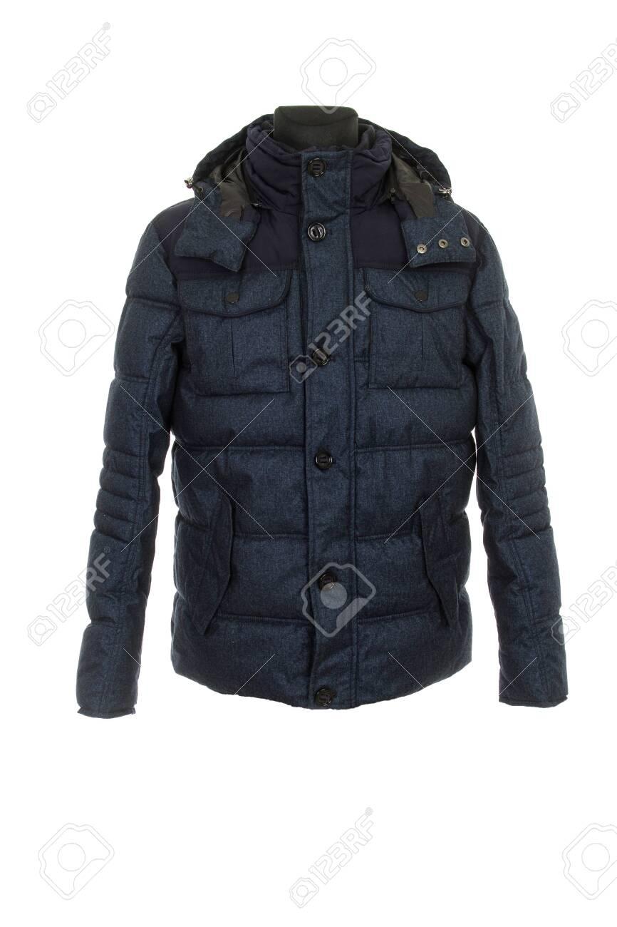 men's warm winter jacket isolated on white background - 136148547