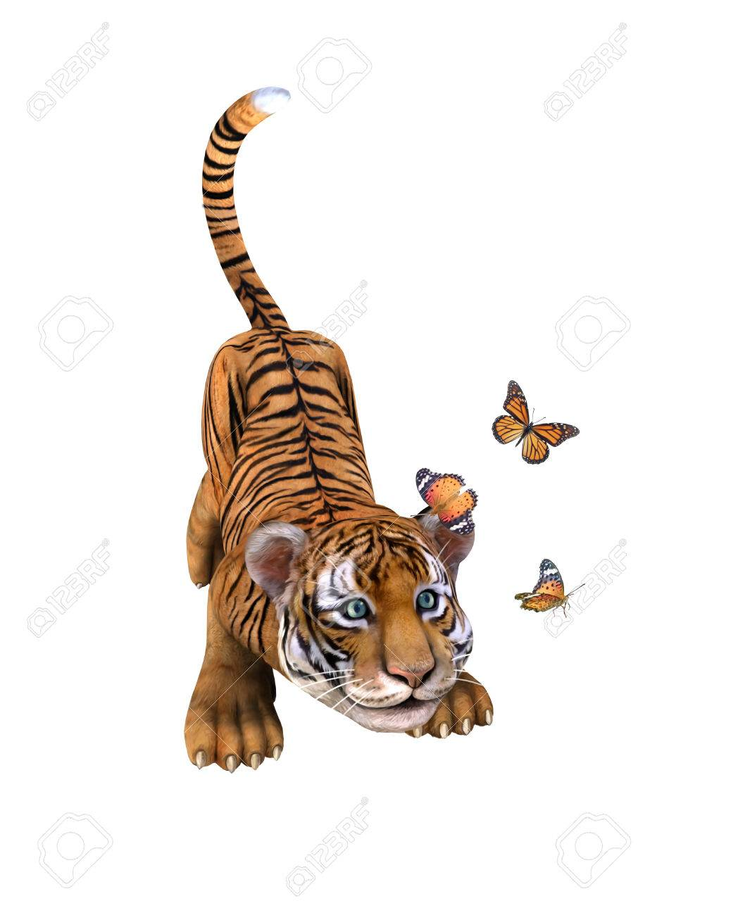 Cute tiger cub playing with butterflie illustration stock photo cute tiger cub playing with butterflie illustration stock illustration 44944922 thecheapjerseys Image collections