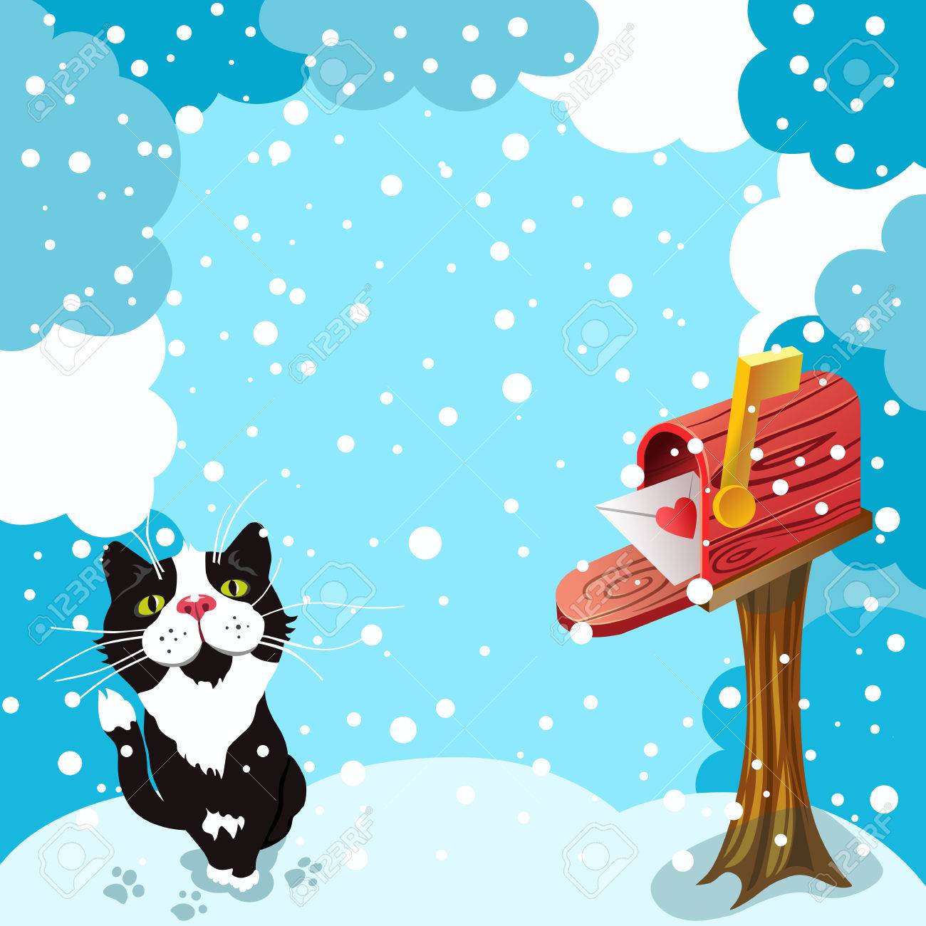 Christmas Greeting Card UNUSED VINTAGE White Kitten Cat Mail Box Presents Snow