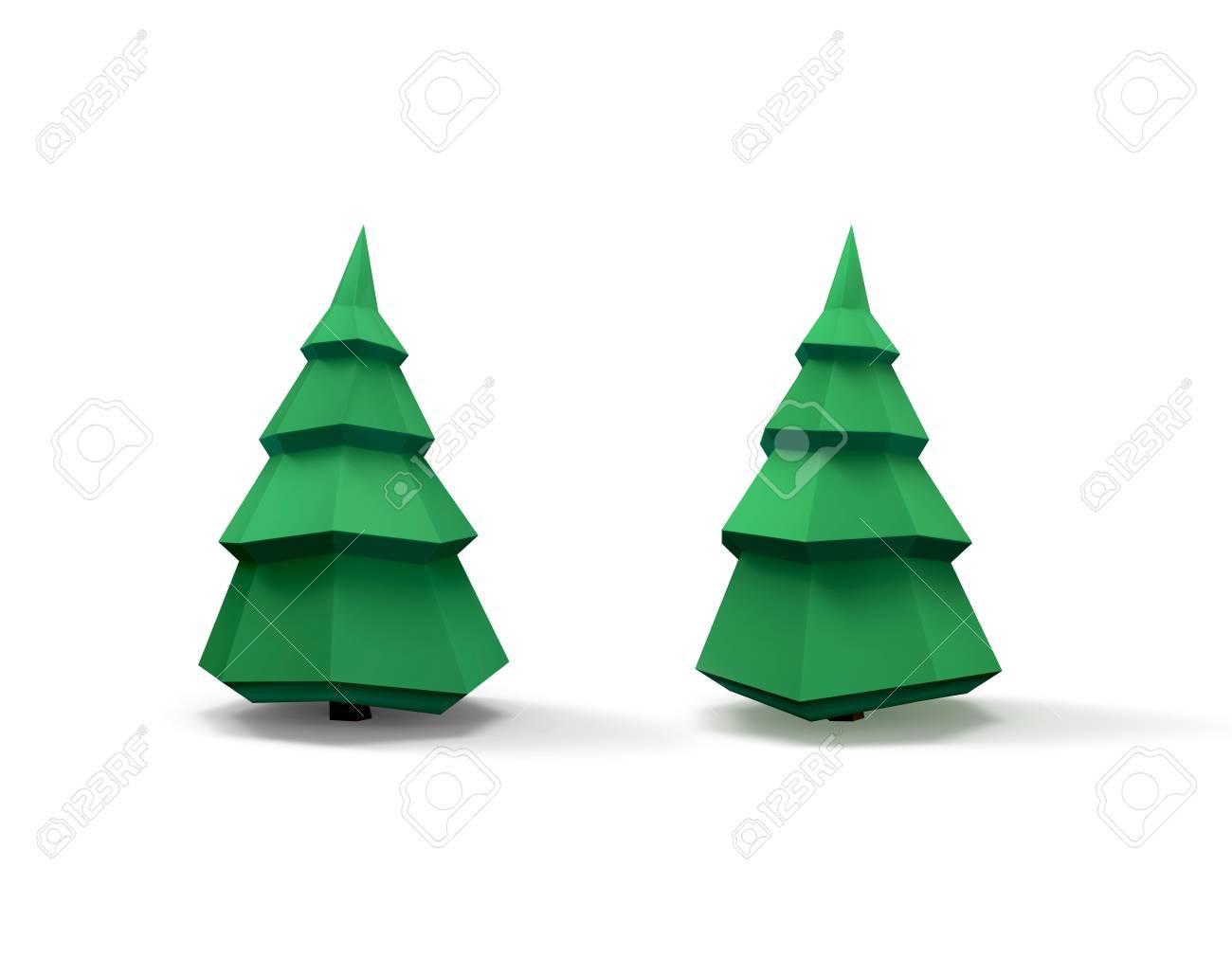 Groene Kerstboom 3d Beeld Geisoleerd Op Wit Royalty Vrije Foto