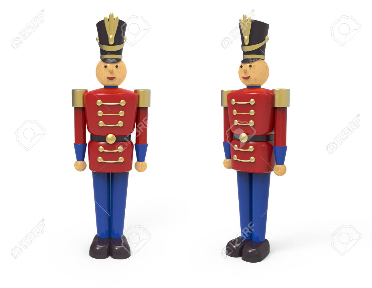 Christmas Vintage Wooden Soldier Toys 3d Image On White Background