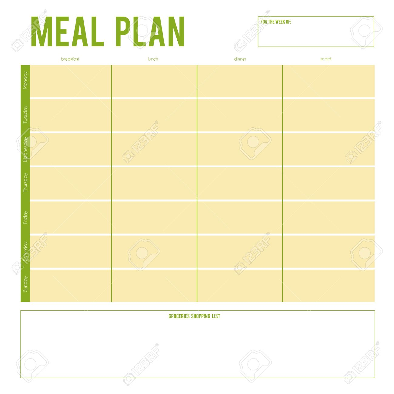 photo about Printable Note Pages titled Evening meal Application for a 7 days, observe web page. Vector printable bins, fifty percent..