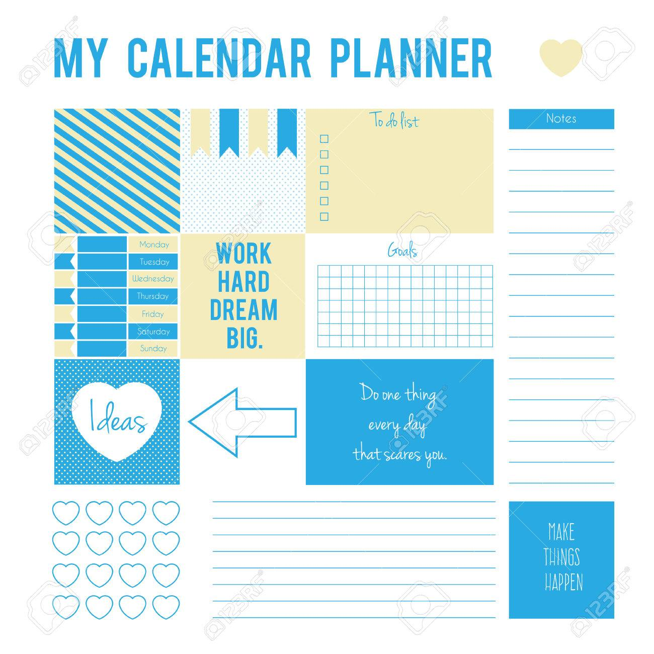photograph about Printable Life Planner titled Planner webpage with stickers, printable information. Vector printable..