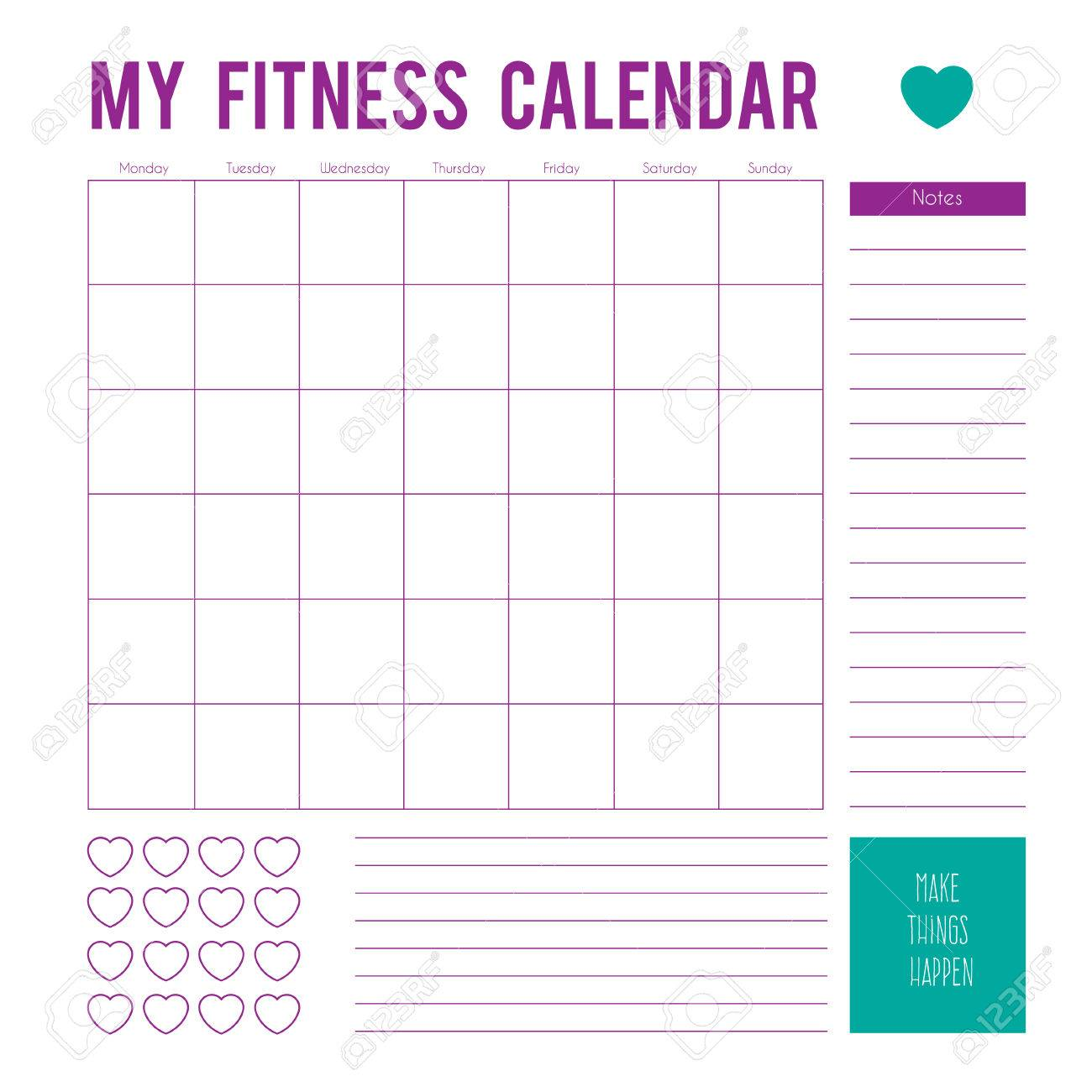 Fitness Calendar Plan For A Week Page Vector Printable Boxes Half