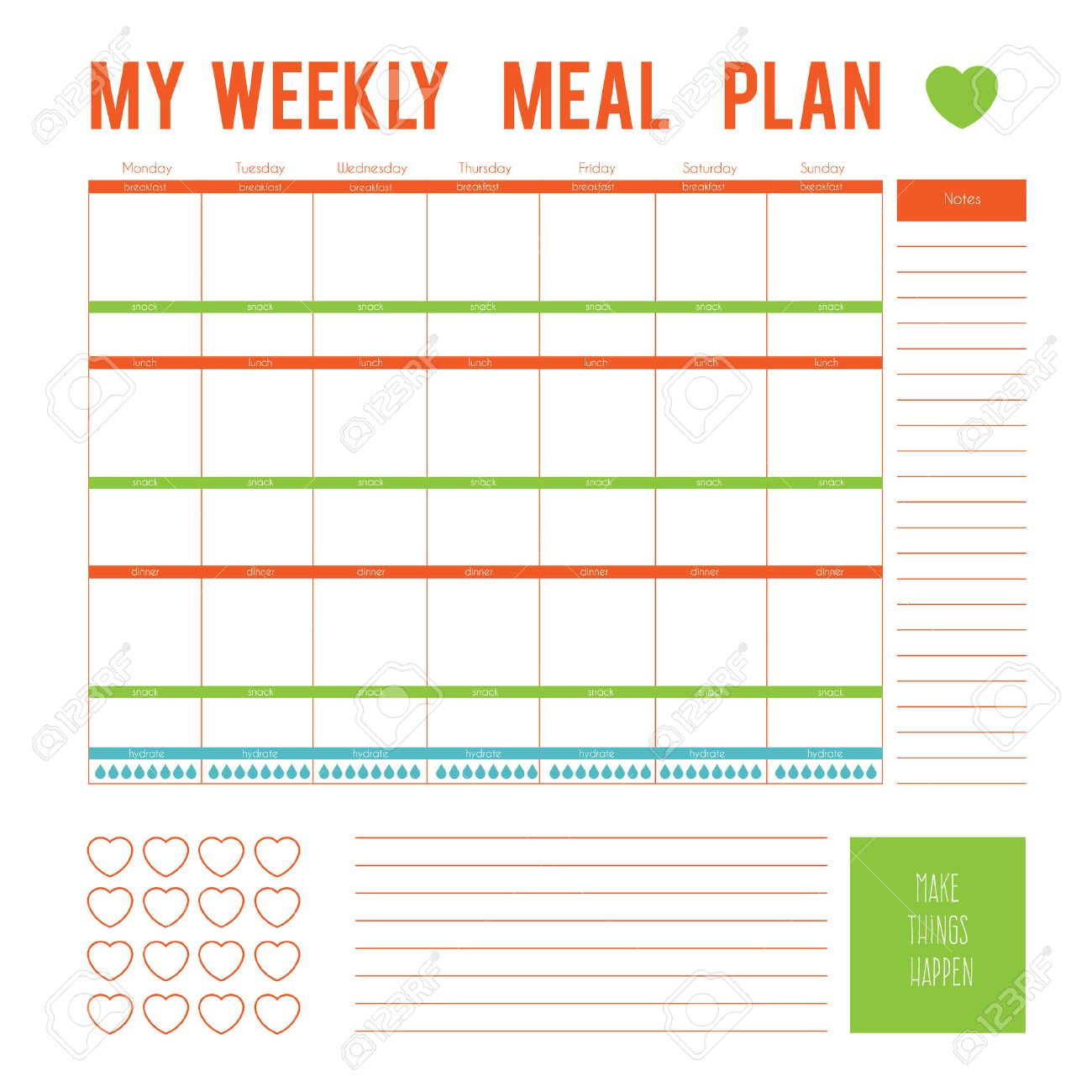 Meal Plan for a week, calendar page  Vector printable boxes,