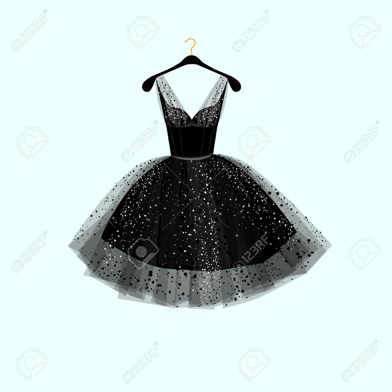 Little black dress. Vector illustration - 53118365
