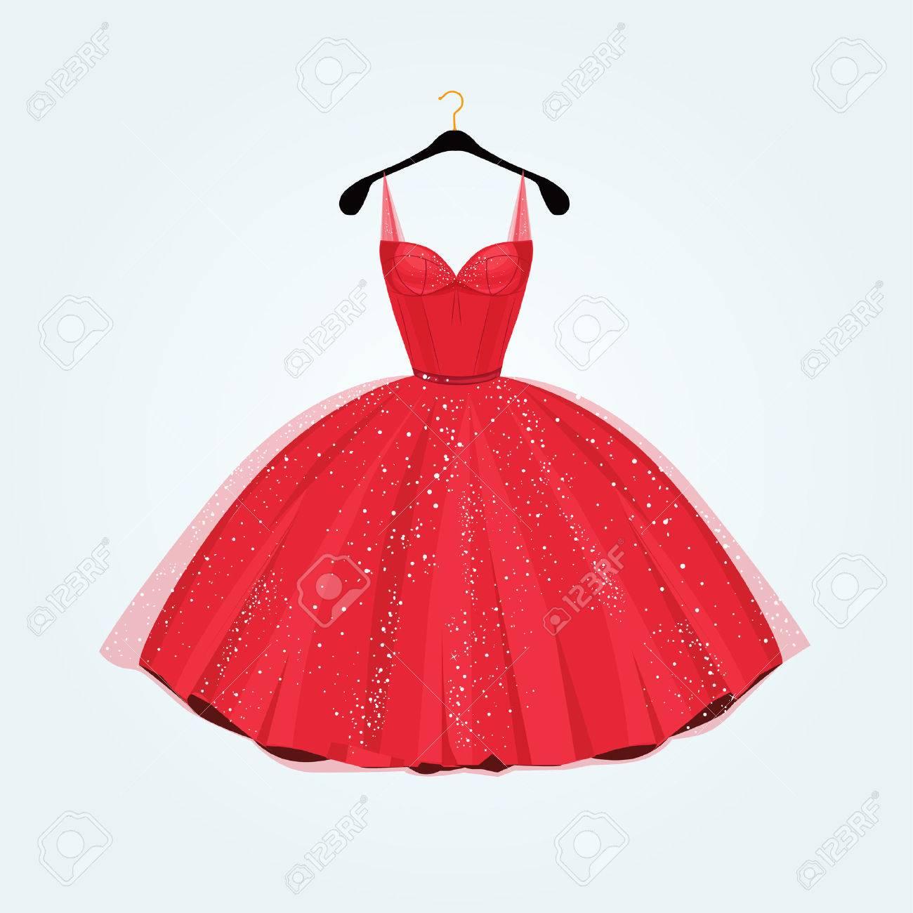 Red Wunderschönen Partykleid. Vektor-Illustration Lizenzfrei ...