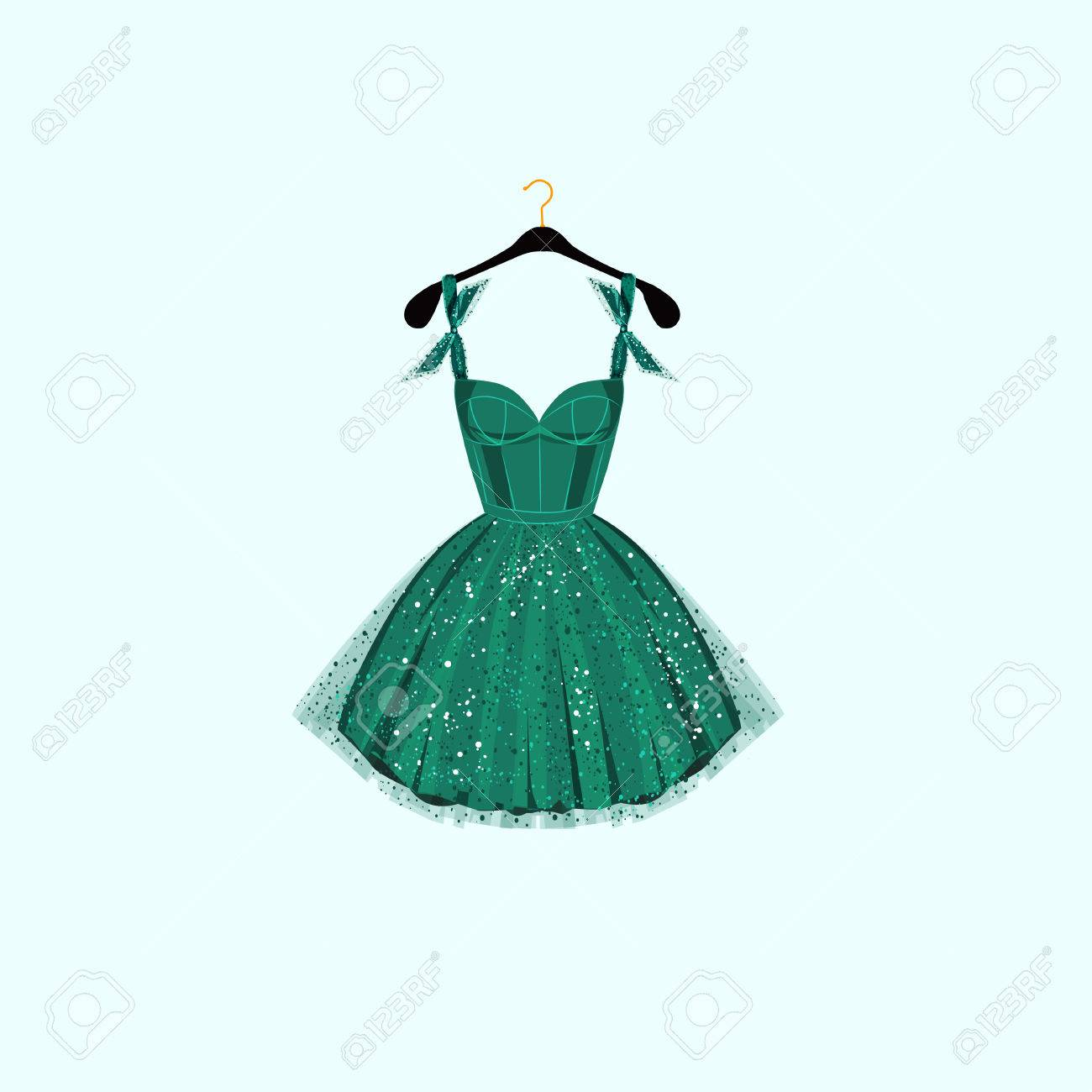 Fancy Party Dress. Vector Illustration Royalty Free Cliparts ...