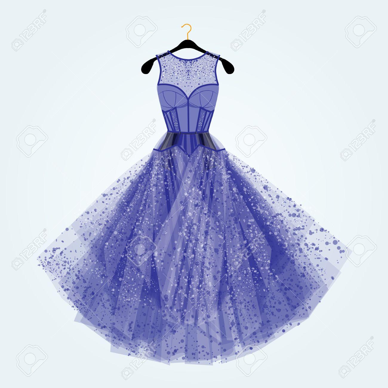 ラインス トーン ブルーのドレスファッション イラストブルーの