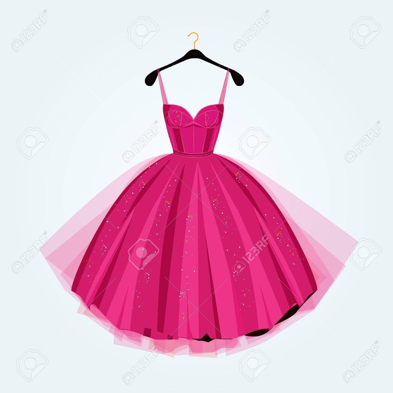 Fiesta De Color Rosa Ilustración Dress.Prom Dress.Vector ...