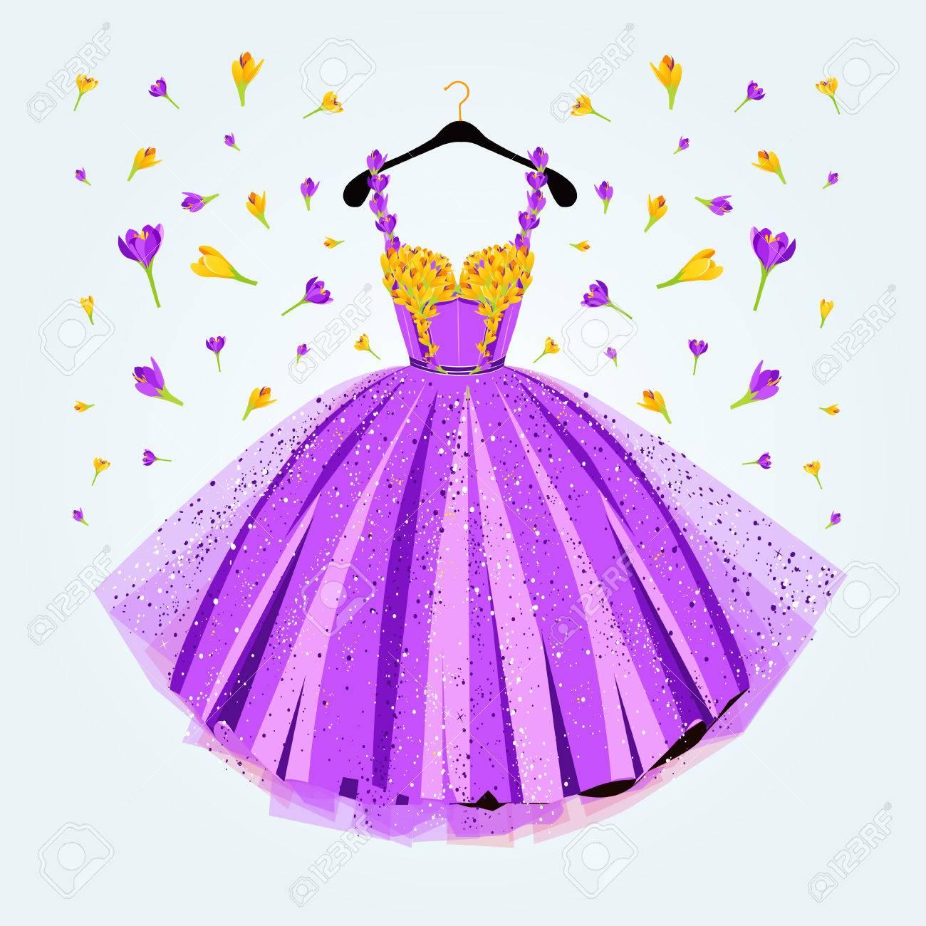 Vestido Púrpura Partido Con Una Decoración Floral. Ilustración ...
