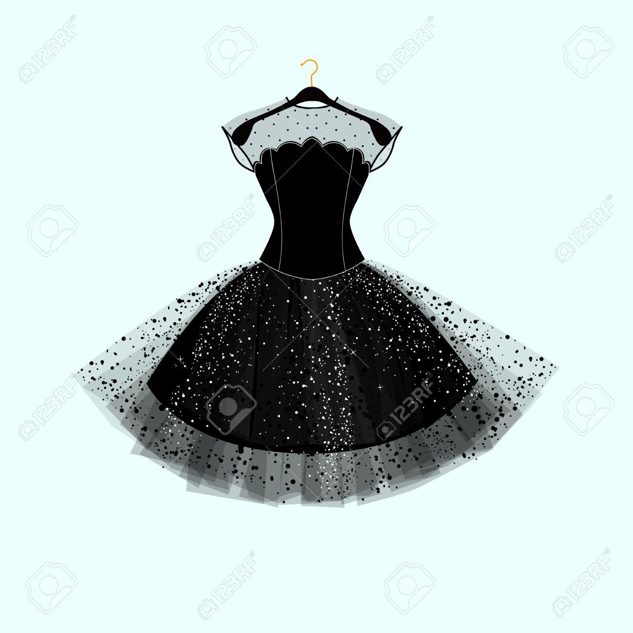 黒のドレス。パーティー ドレス。ファッション イラスト,ベクトル