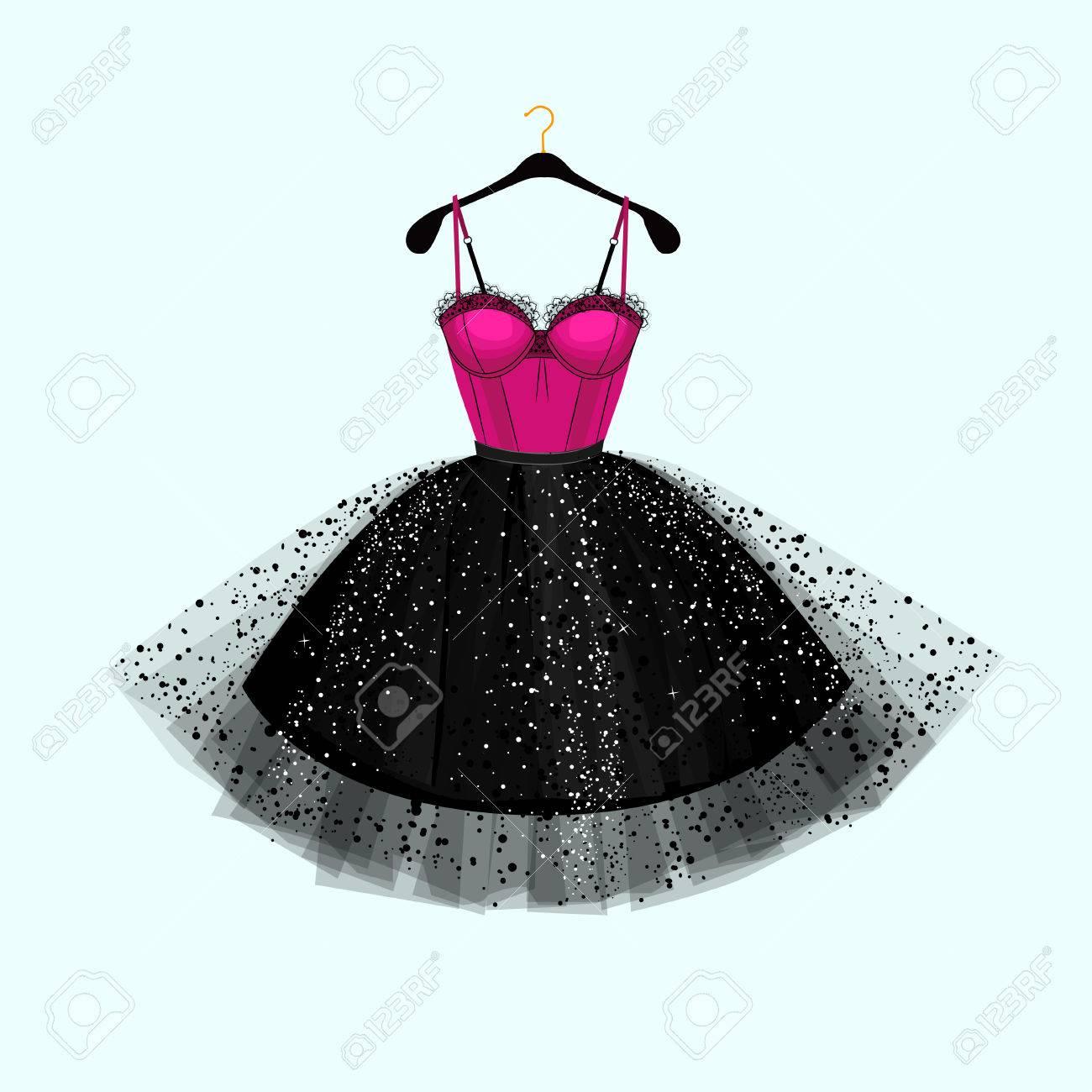 Vektor Mode Illustration Kleid Fur Besondere Anlasse Rosa Und Schwarzes Kleid Lizenzfrei Nutzbare Vektorgrafiken Clip Arts Illustrationen Image 83427547