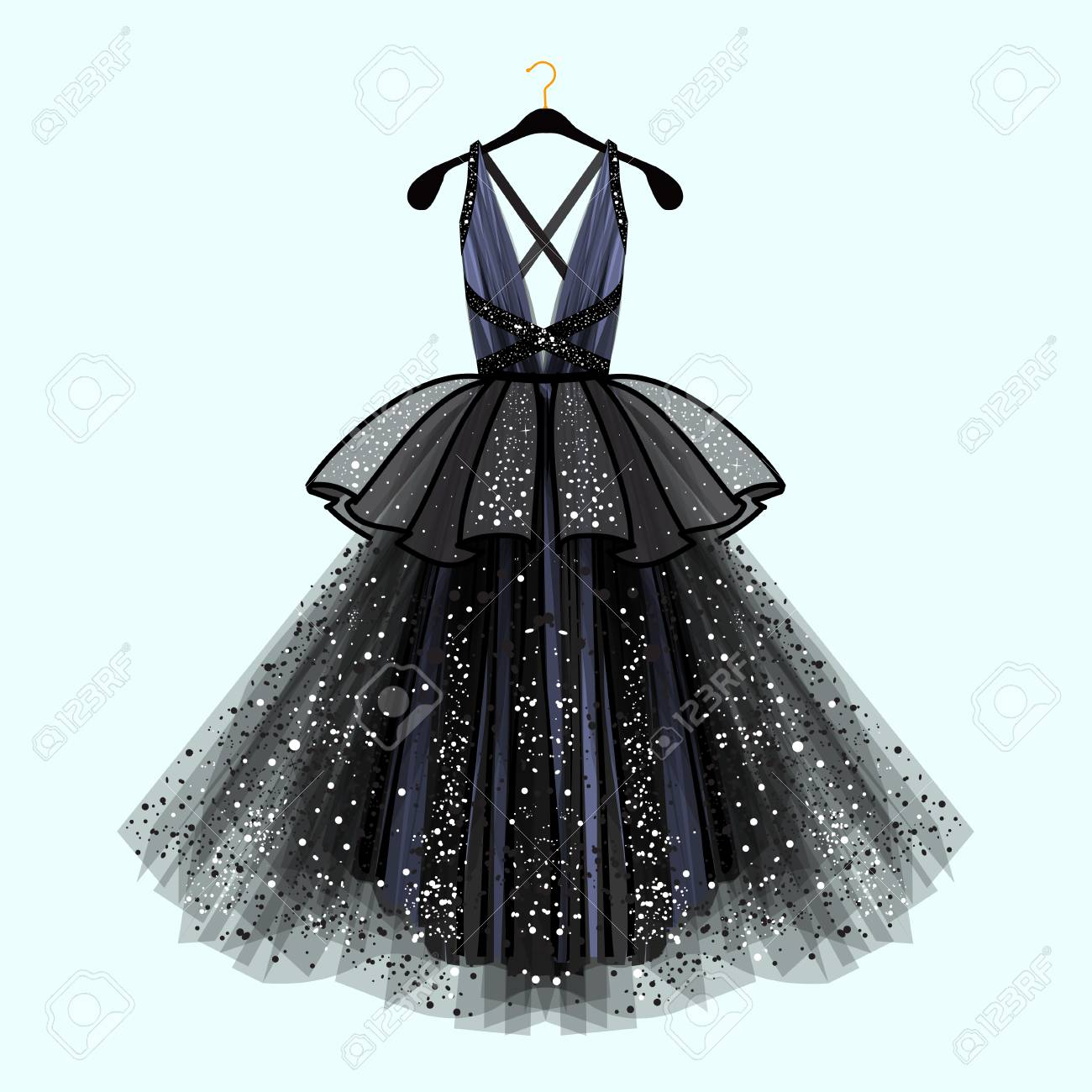 Gorgeous party dress. Party dress with fancy decor.Fashion illustration - 94352982
