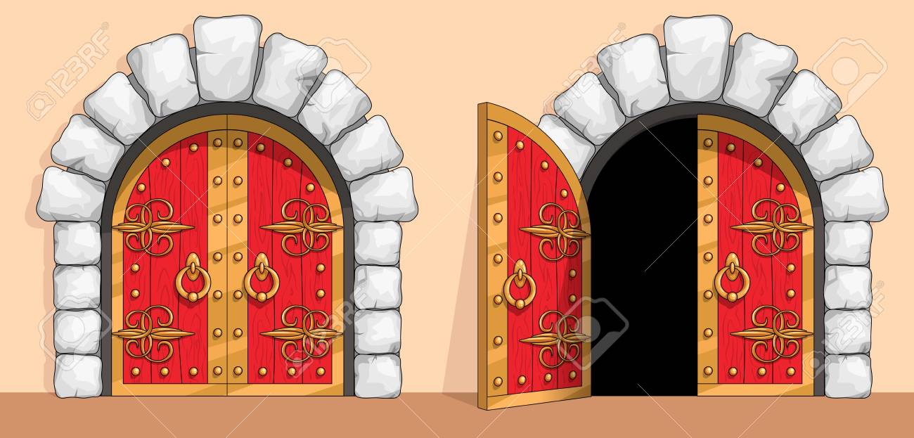 Red Wooden Gates Of A Medieval Ancient Castle Or Fortress There