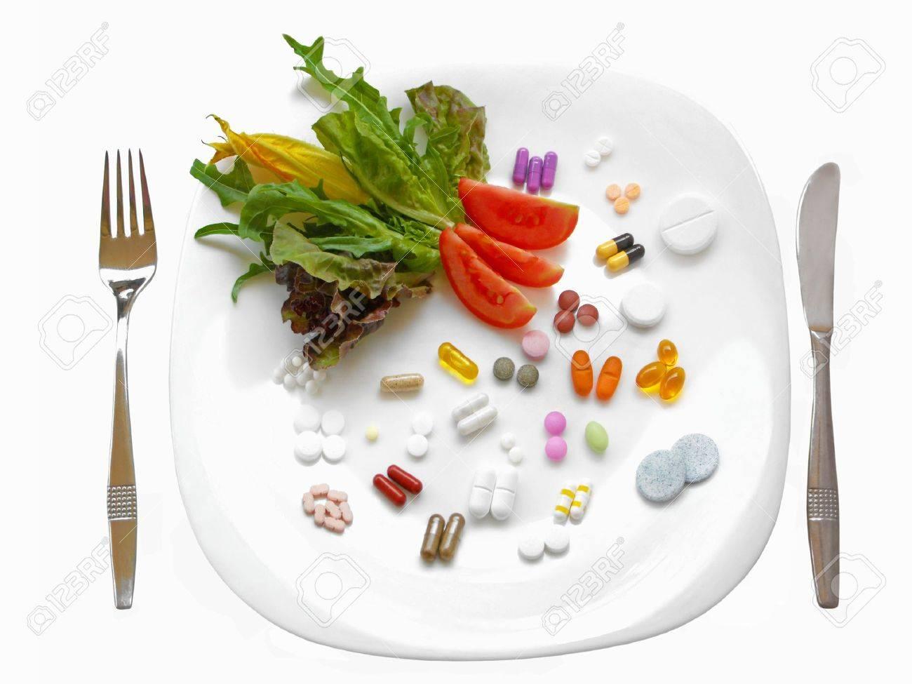 Food supplements vs healthy diet Stock Photo - 7374092