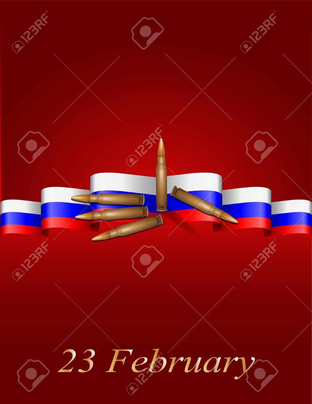 vector greeting card with Russian flag, related to Victory Day or 23 February Stock Vector - 17274691