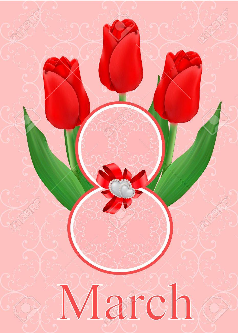 vector greeting card with bouquet of red tulips, may be used as a Women s Day backdrop Stock Vector - 17666260
