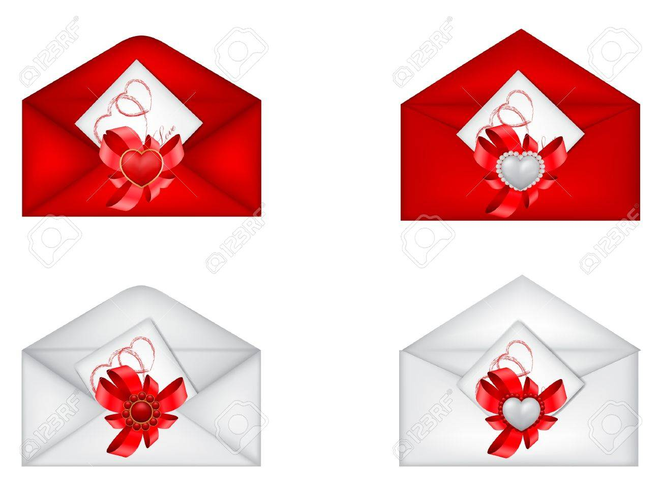 vector set of decorative Saint Valentine s envelopes with hearts Stock Vector - 17666339