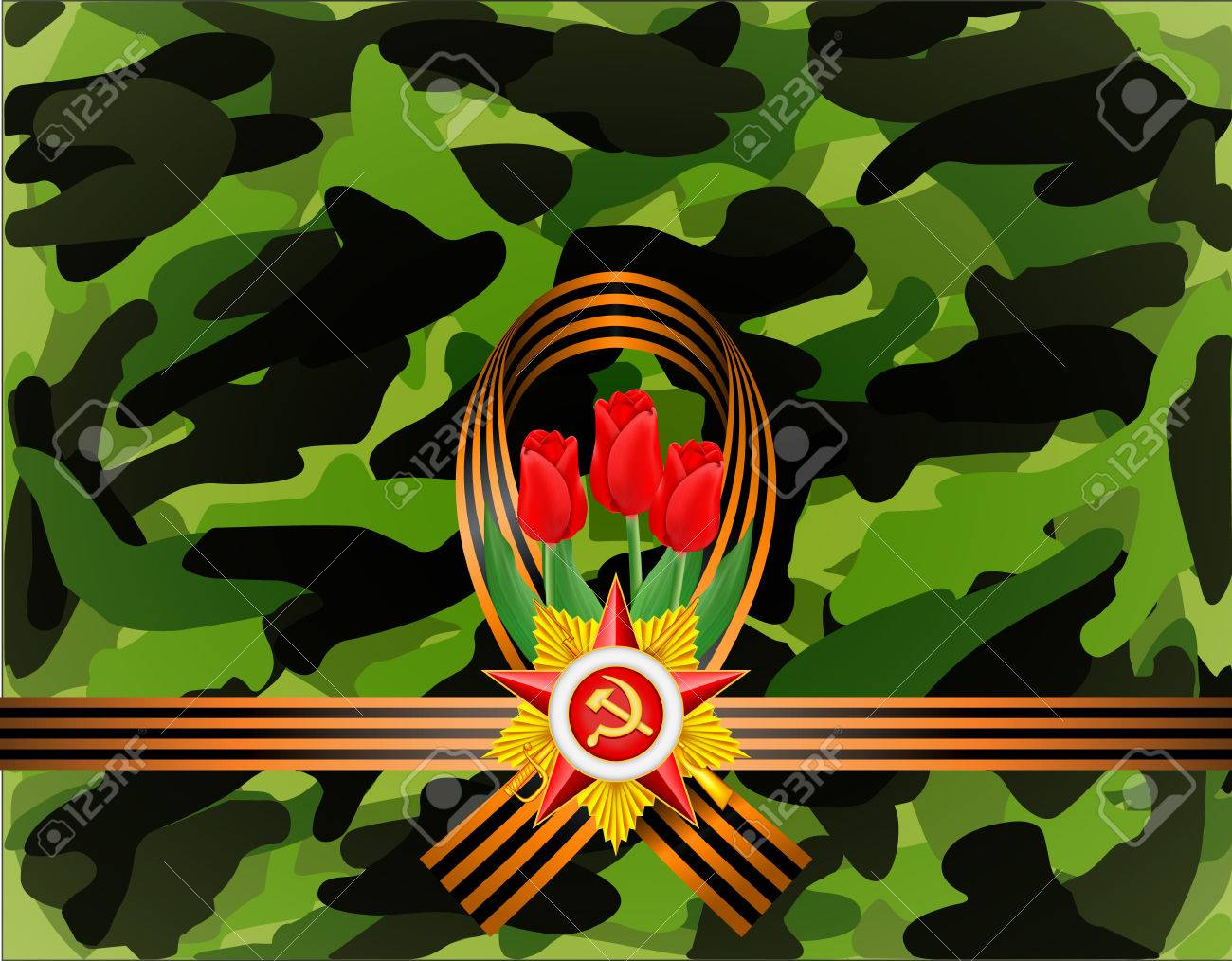 Greeting Card With Military Objects Related To Victory Day Royalty