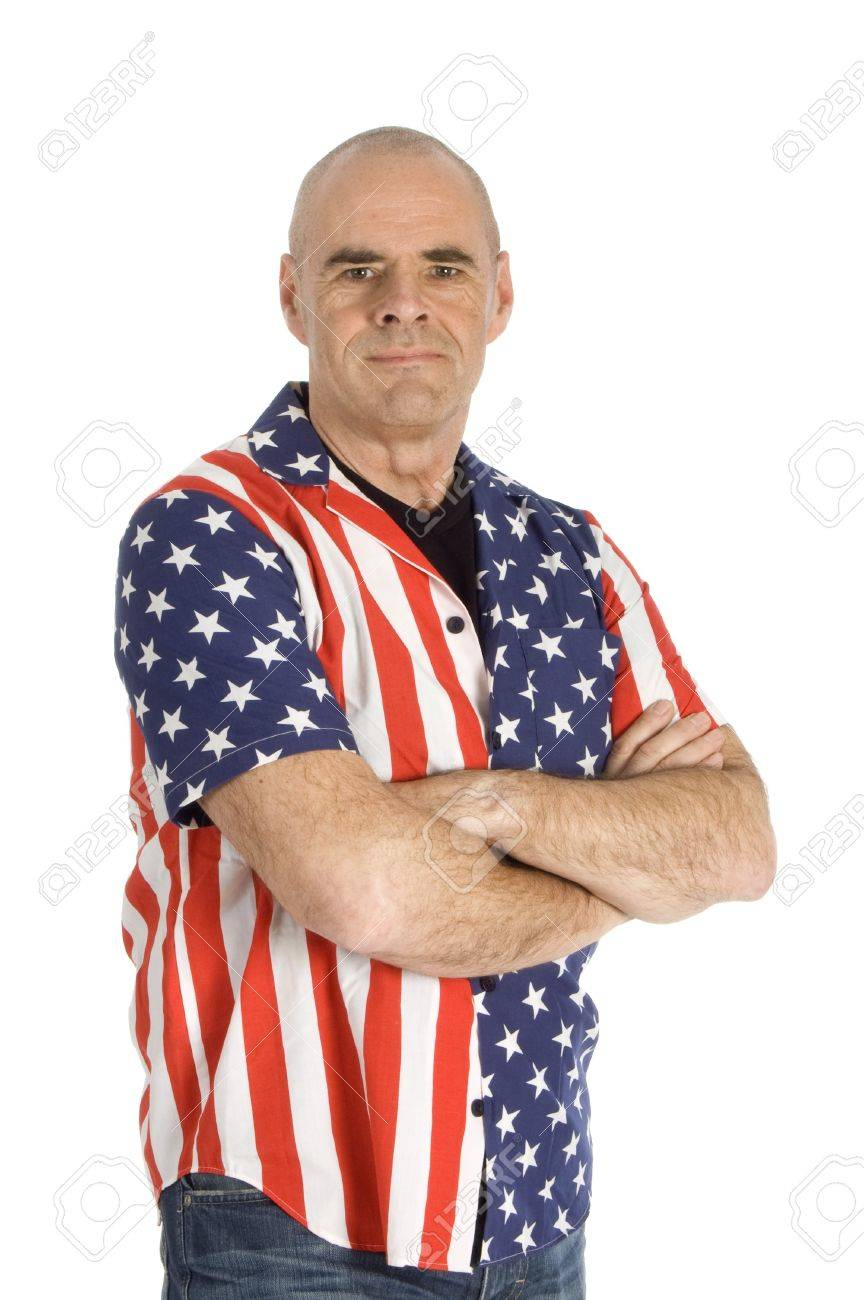 patriot man wearing a united states blouse isolated on white Stock Photo - 4370213