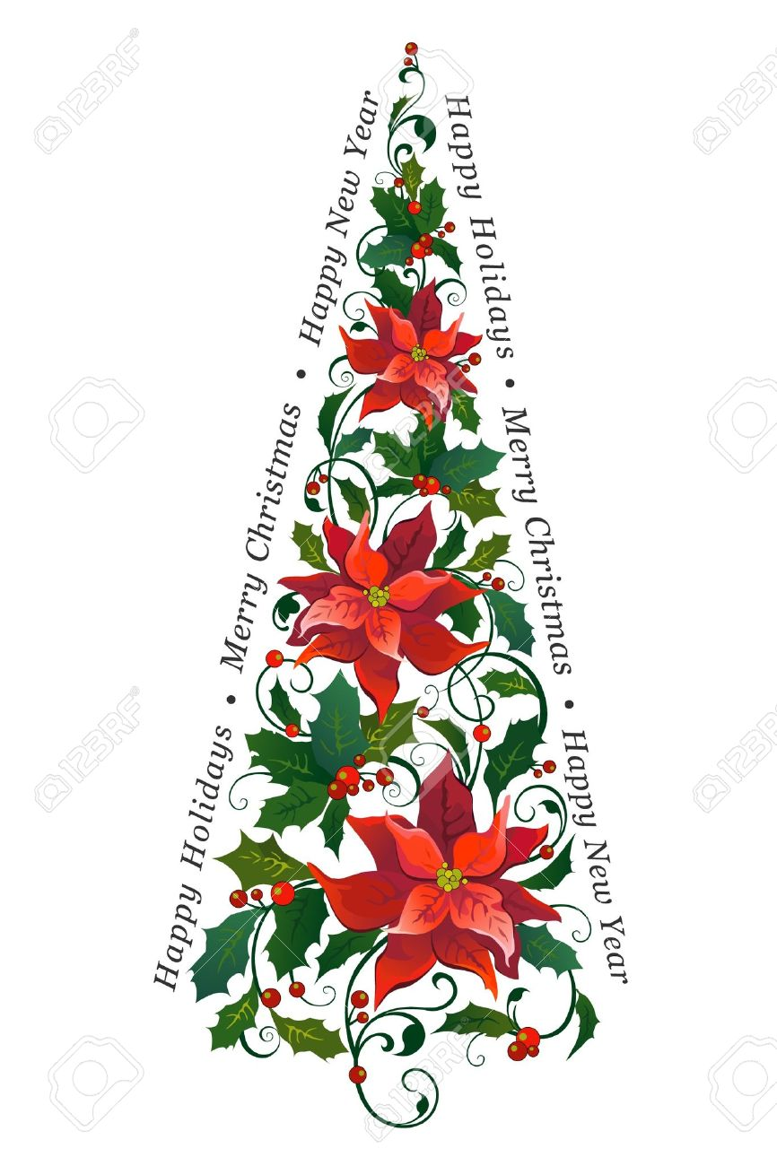 Decorative Christmas Tree Made Of Poinsettia Royalty Free Cliparts ...
