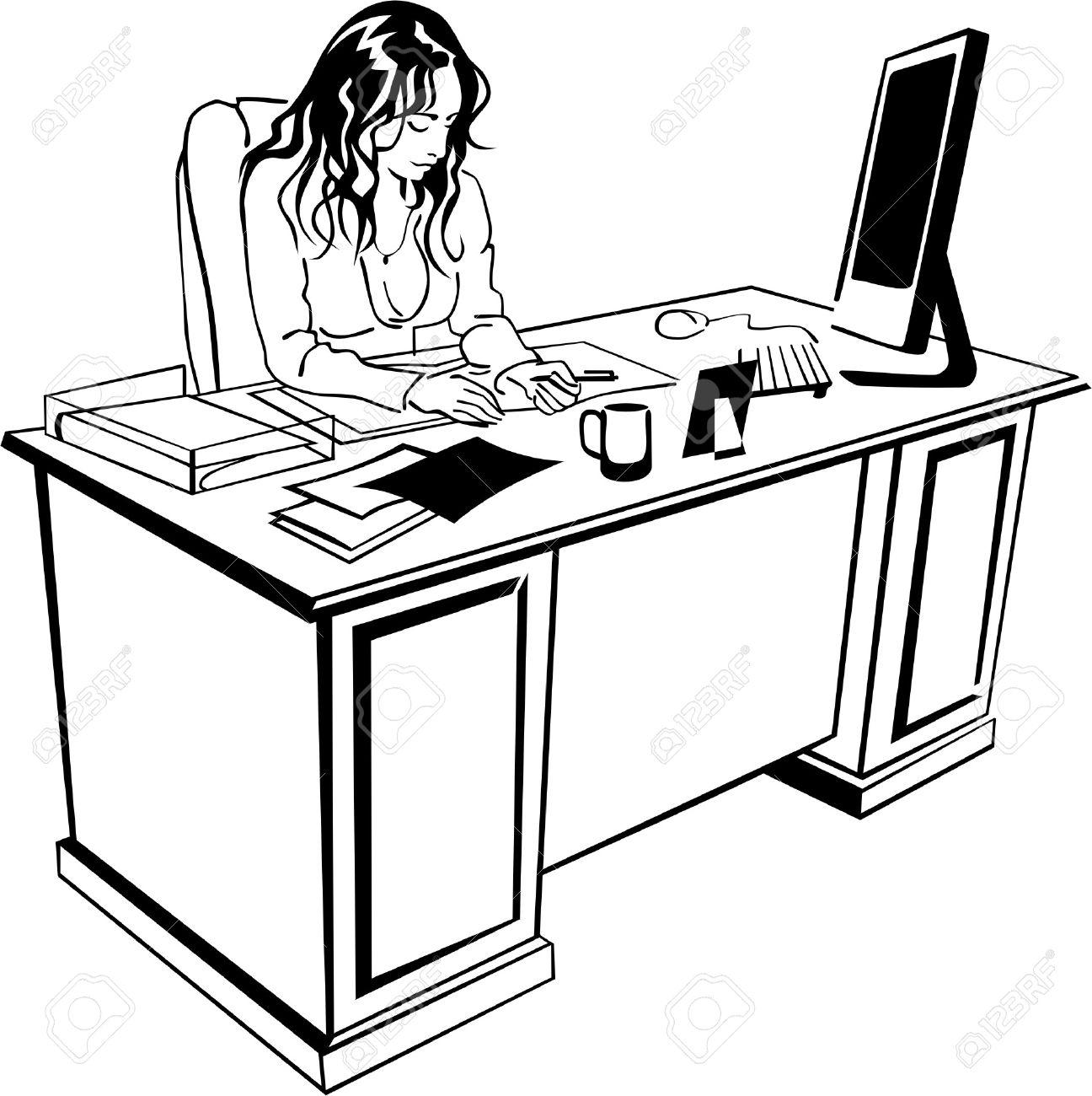 Schreibtisch büro clipart  Junges Mädchen Ist An Der Schreibtisch Lizenzfrei Nutzbare ...