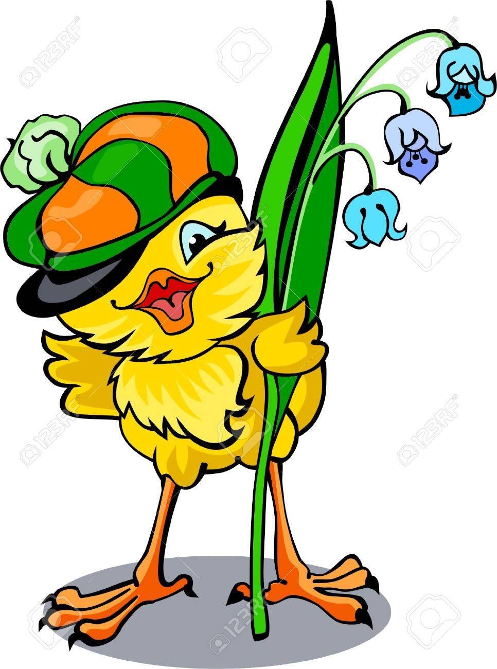 Cute merry chicken in peaked cap Stock Vector - 4521553