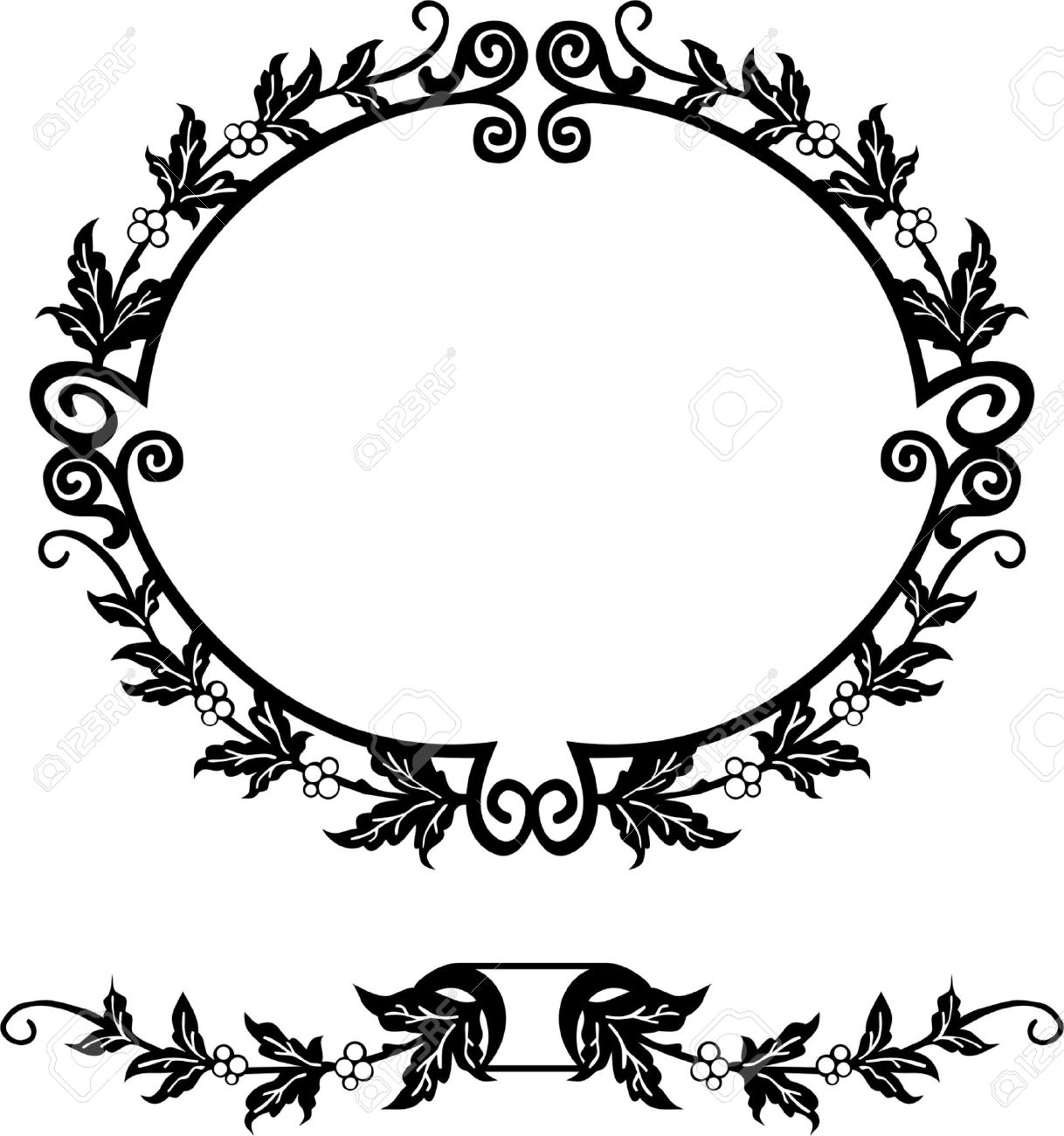 Oval Silhouette Frame Royalty Free Cliparts, Vectors, And Stock ...