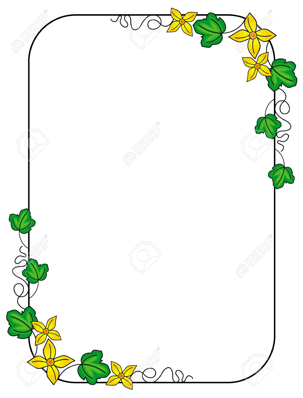 Cute Frame With Green Leaves And Yellow Flowers Royalty Free ...