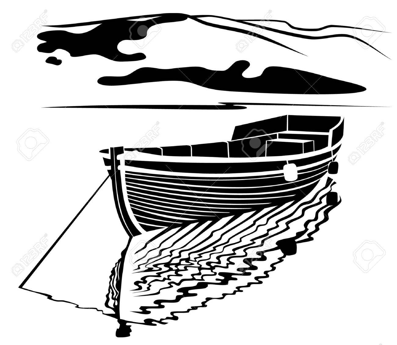 Black And White Image Of Traditional Fisherman Boat Royalty Free Cliparts Vectors And Stock Illustration Image 7000937
