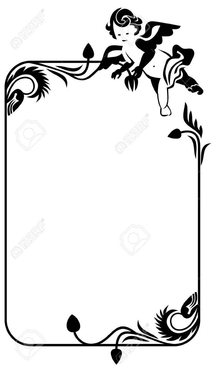 silhouette frame with cherub Stock Vector - 8786301