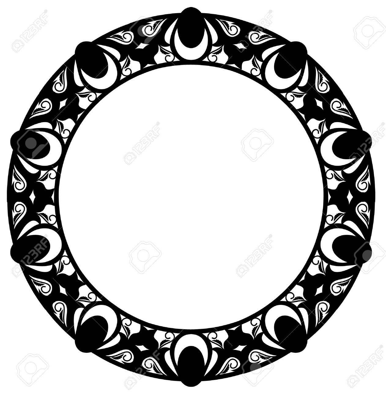 Round elegant silhouette frame Stock Vector - 8789309