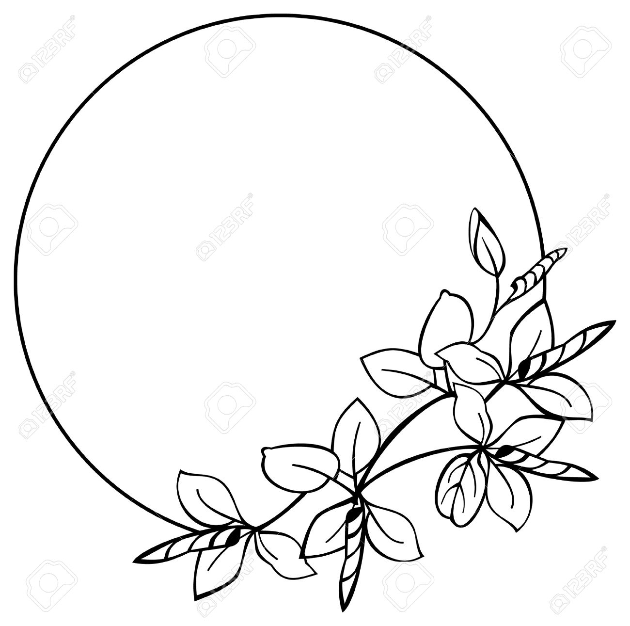 Round Flower Frame Royalty Free Cliparts, Vectors, And Stock ...