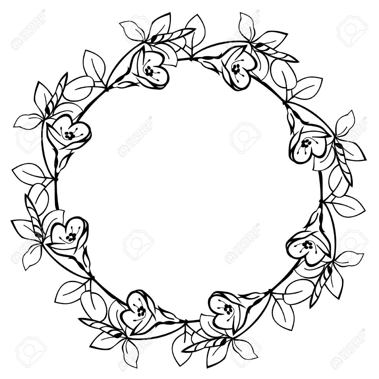 Round Flower Frame Stock Vector