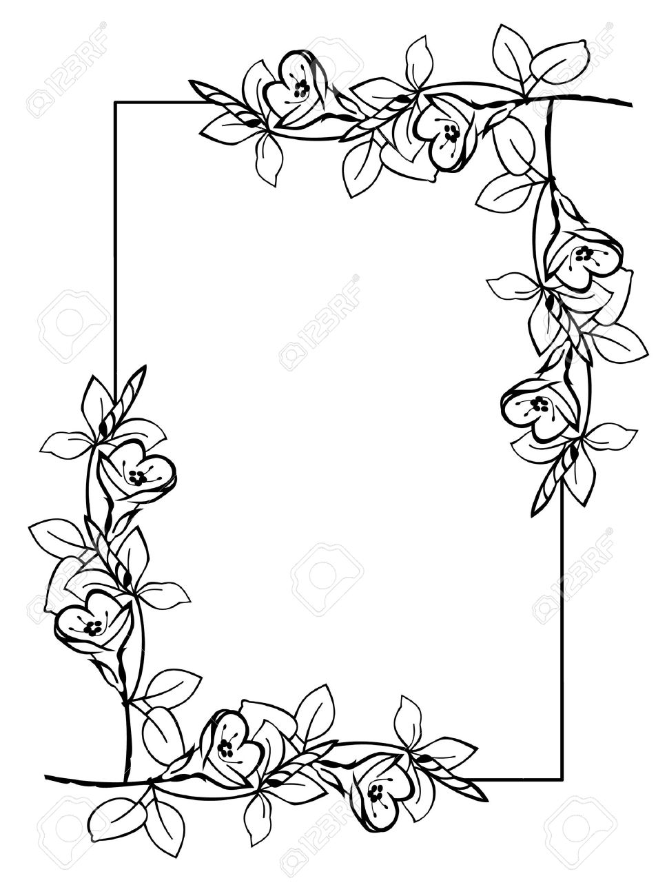 Silhouette Frame With Flowers Royalty Free Cliparts Vectors And