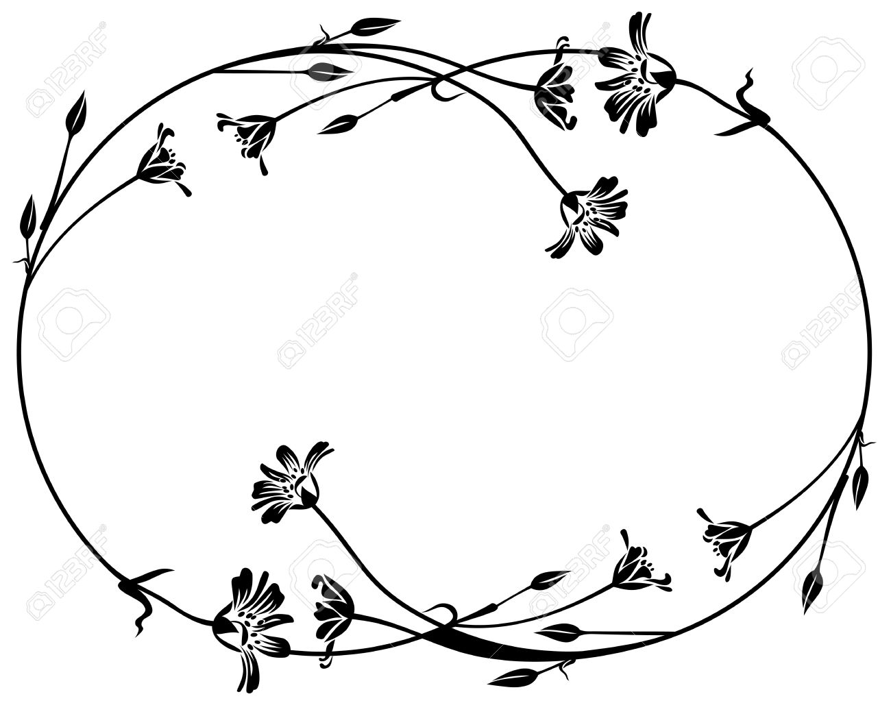 Floral Outline Round Frame Royalty Free Cliparts, Vectors, And Stock ...