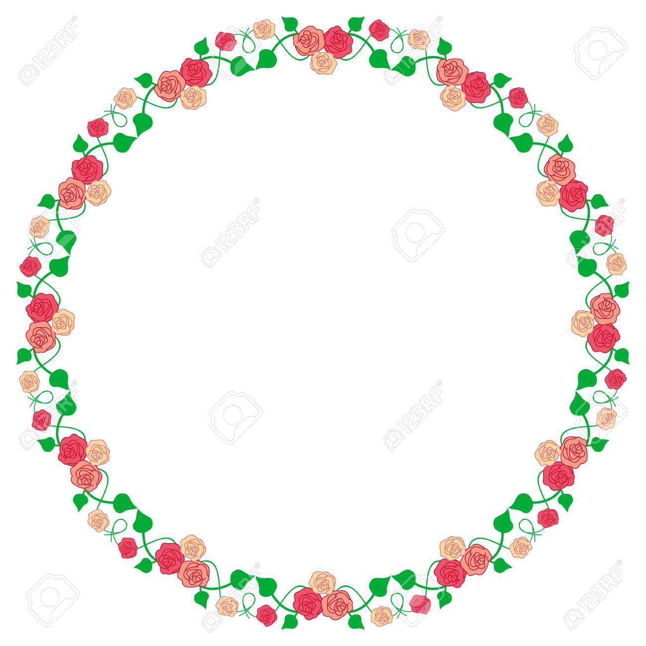 Round Frame With Roses Royalty Free Cliparts, Vectors, And Stock ...
