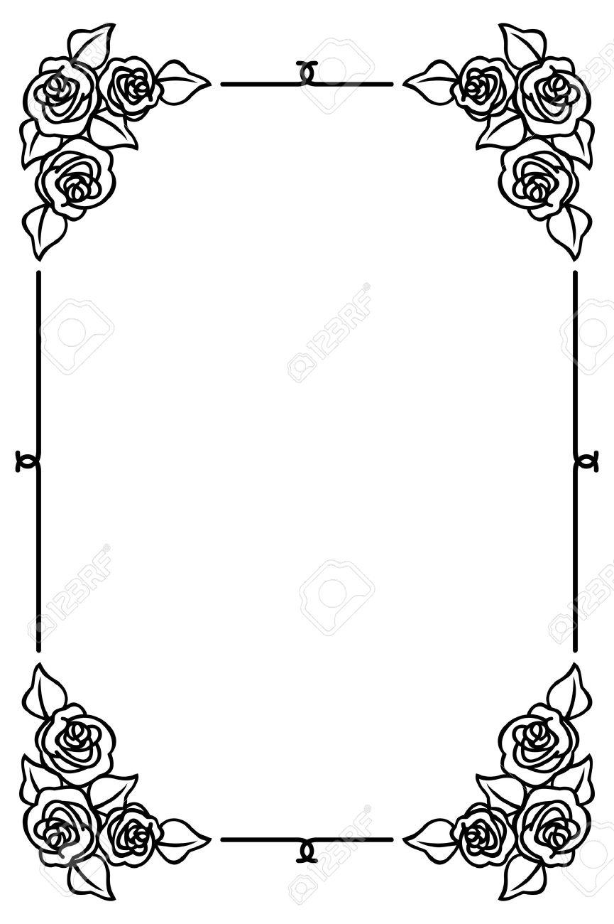 Black And White Frame With Roses Клипарты, векторы, и Набор ...