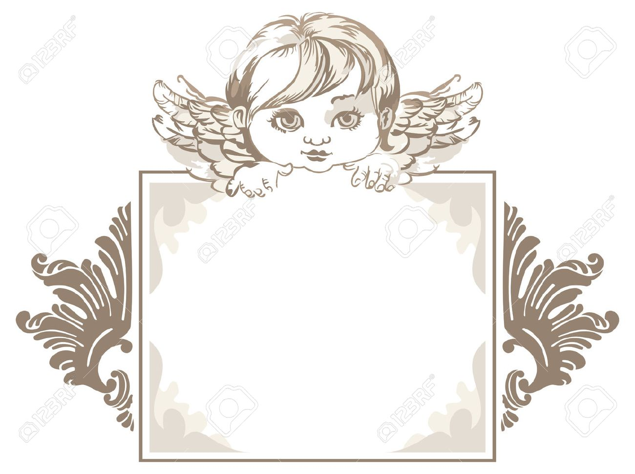 Grayscale Frame With Angel Head In Vintage Style Royalty Free ...