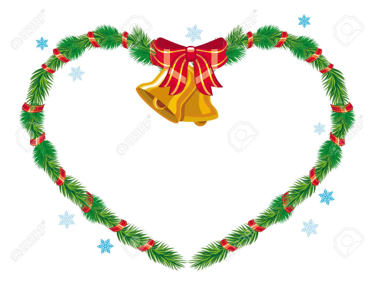 Christmas Heart Vector.Holiday Christmas Heart Shaped Garland With Bells