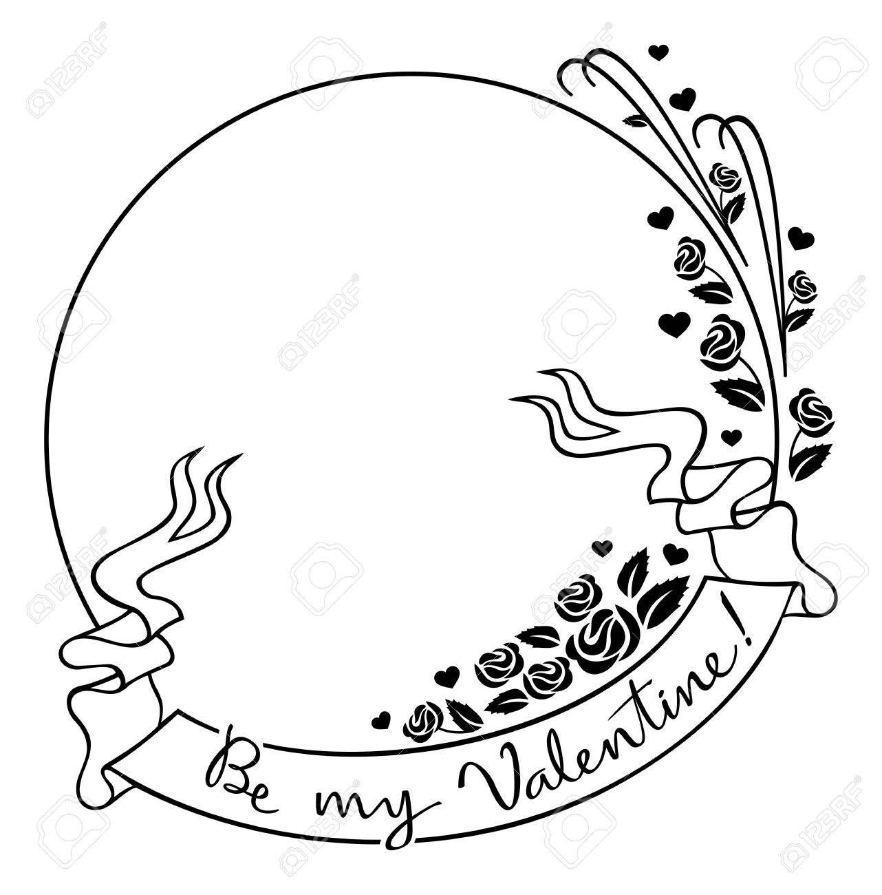 Round Valentine Rahmen Mit Originalzeichnung Künstlerische Text ...