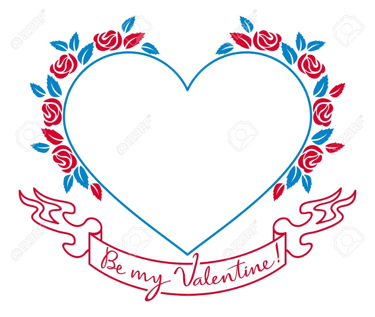 Bunte Valentine Rahmen Mit Originalzeichnung Künstlerischen Text ...