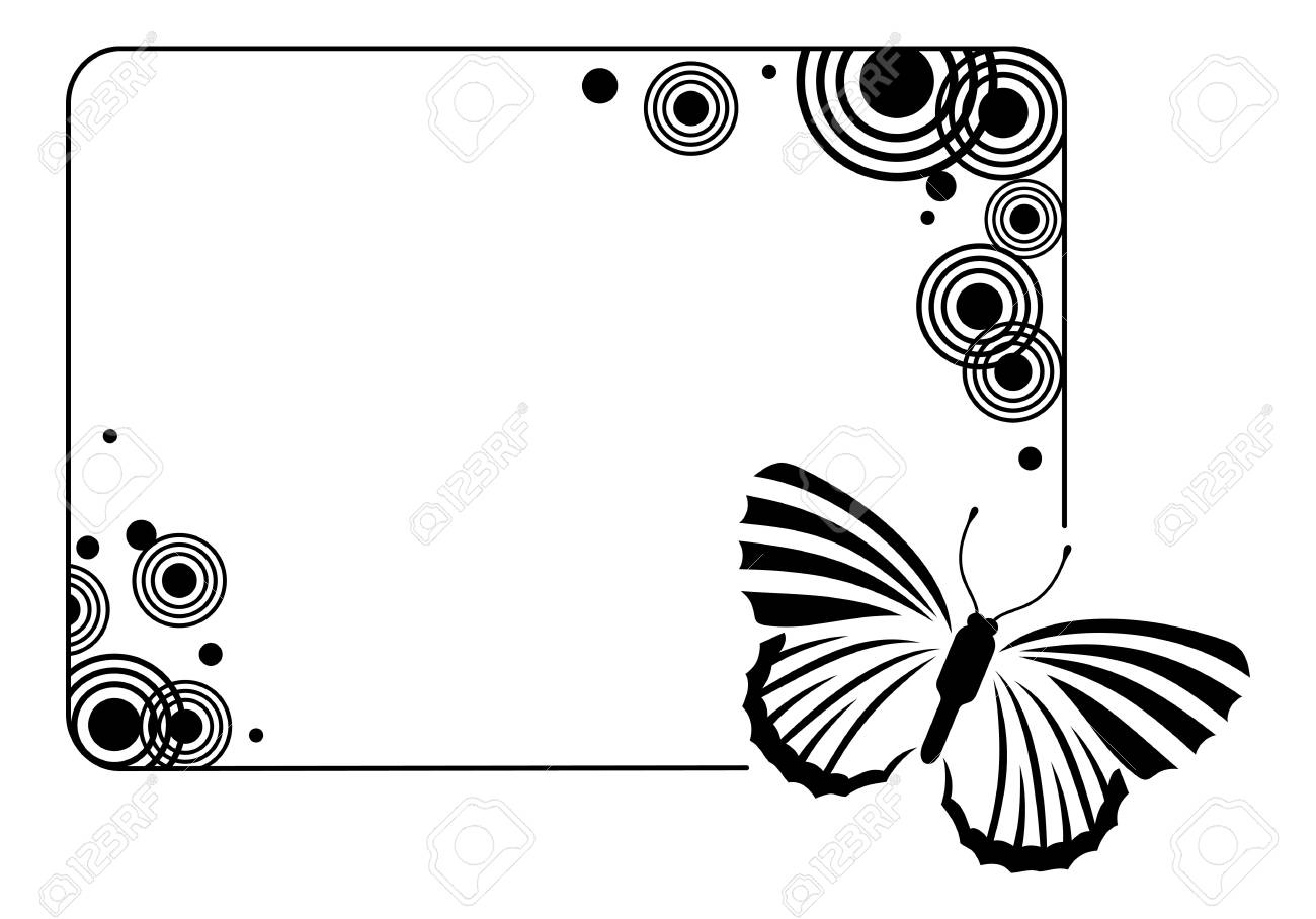 Horizontal Black And White Frame With Butterflies Royalty Free ...