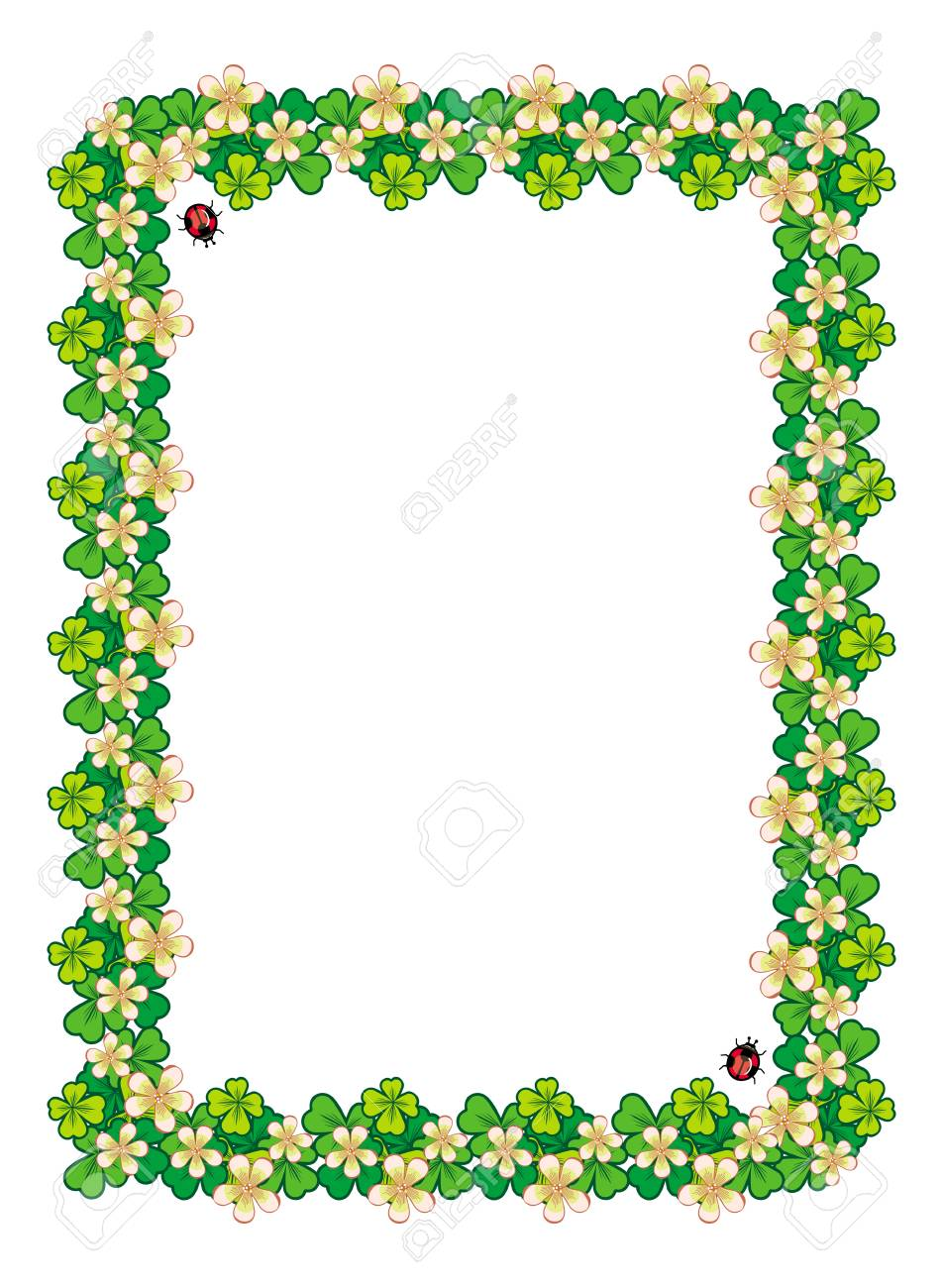 beautiful frame with clover and flowers royalty free cliparts vectors and stock illustration image 51640460 beautiful frame with clover and flowers