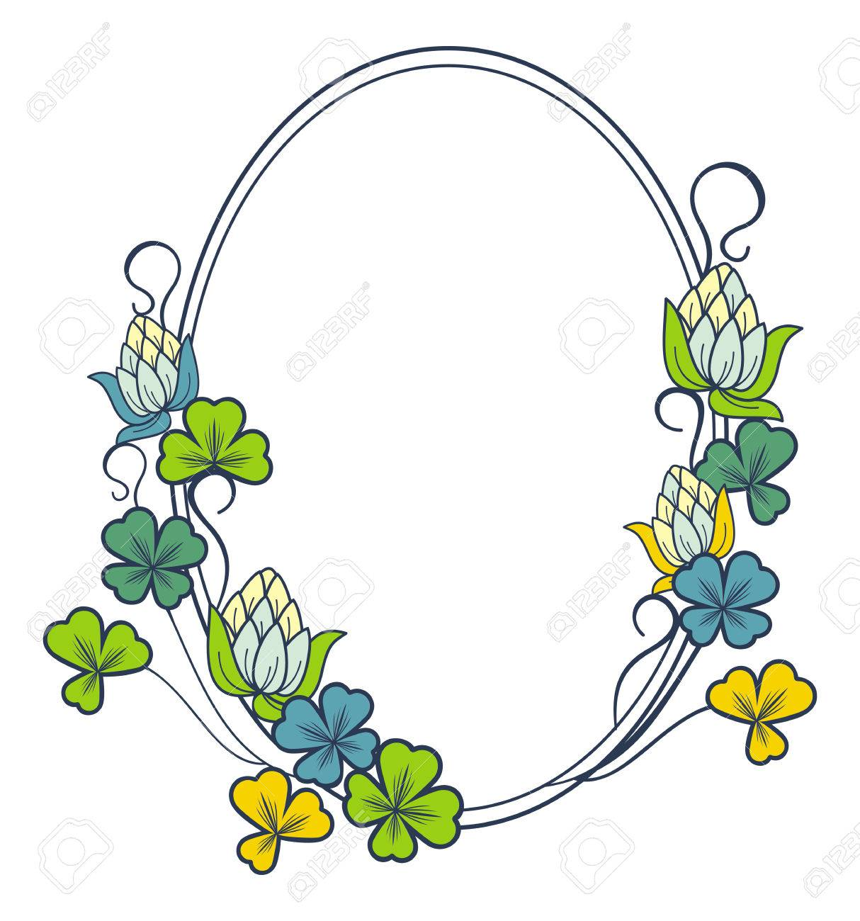 Beautiful Oval Floral Frame Vector Clip Art Royalty Free