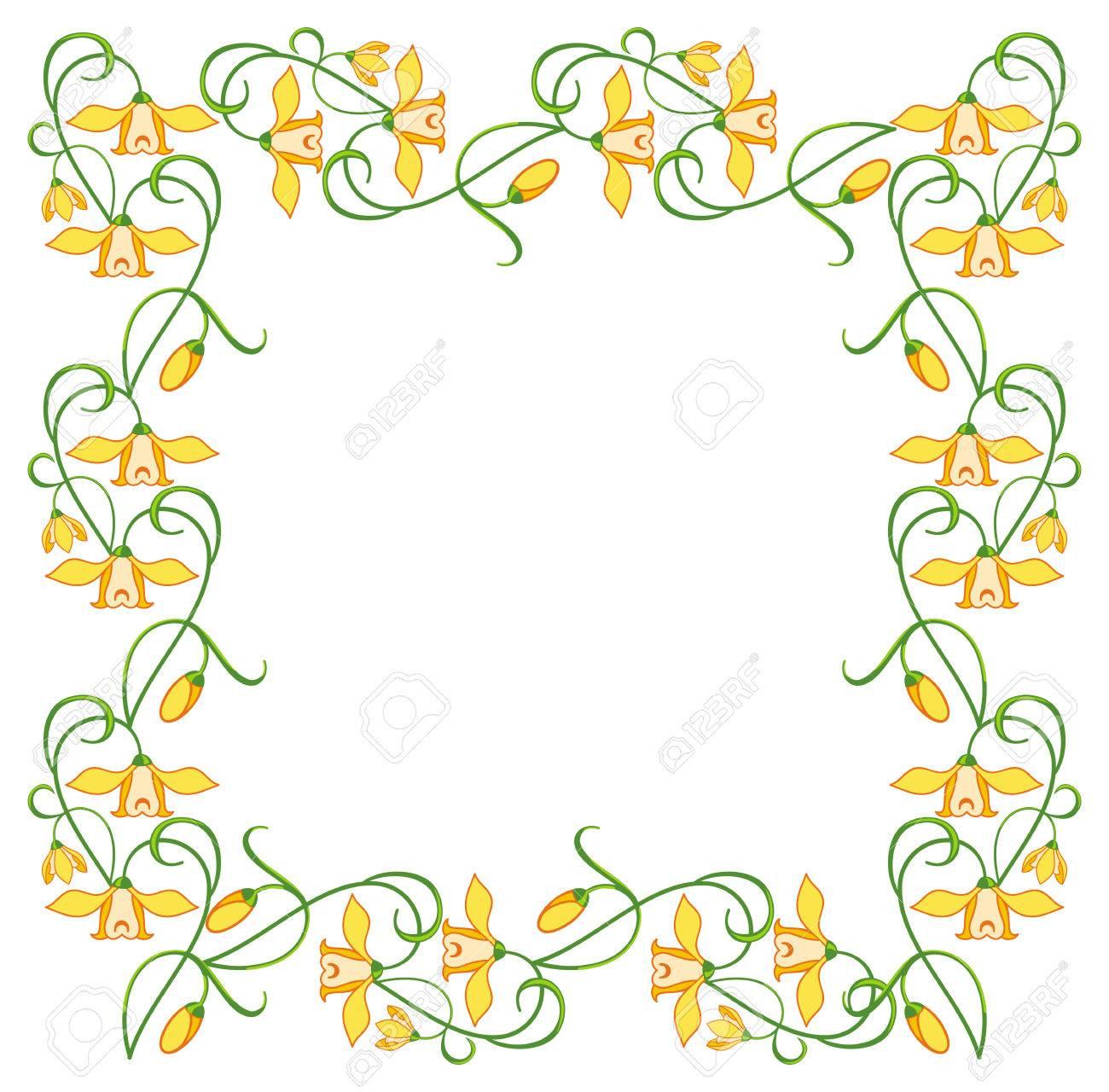 Farbe Rahmen Mit Gelben Blüten Lizenzfrei Nutzbare Vektorgrafiken ...