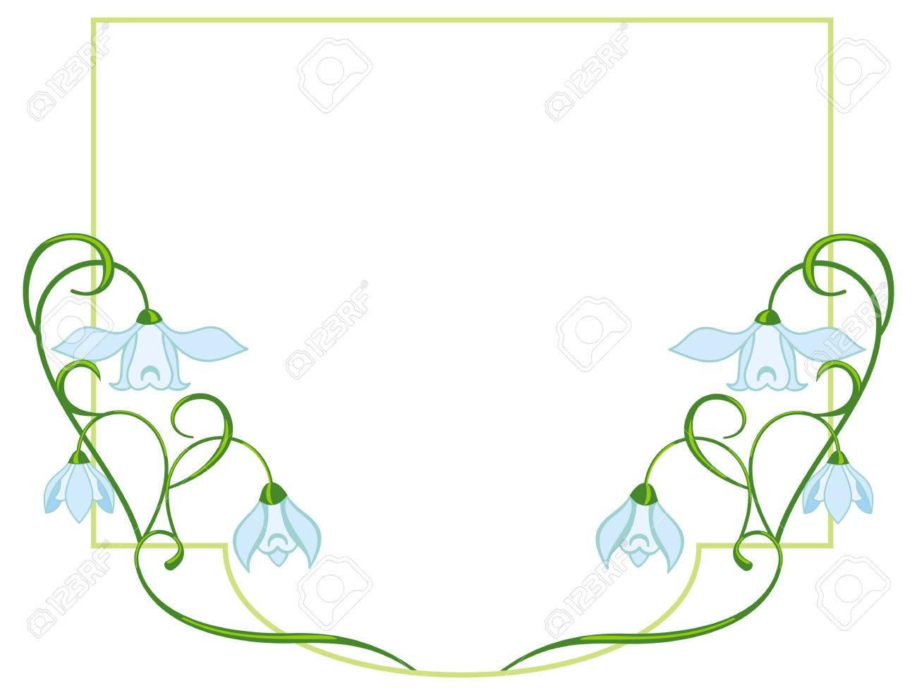 Farbe Rahmen Mit Blauen Blumen Lizenzfrei Nutzbare Vektorgrafiken ...