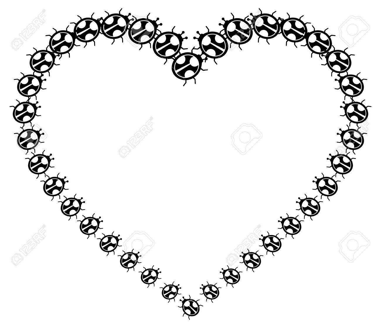 Heart Shaped Frame With Floral Silhouettes. Royalty Free Cliparts ...